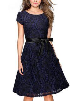 af59e075f9c7ba Miusol Damen Elegant Bogen Gürtel Hochzeit Brautjungfer Mini Kleid  Spitzenkleider Abendkleider Rot Gr.S-XXL: Amazon.de: Bekleidung