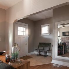 I want this Arts and Crafts style door....  Behr Paint - Perfect Taupe