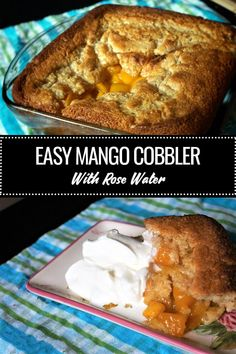 A simple but fancy mango cobbler dessert. The best part of this recipe is the deliciously buttery crust with a dash of my secret ingredient: rose water! Mango Dessert Recipes, Mango Recipes, Juicer Recipes, Fruit Dessert, Detox Recipes, Salad Recipes, Mango Cobbler Recipe, Egg Free Recipes, Water Recipes