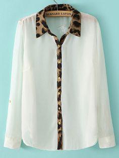 White Long Sleeve Contrast Leopard Lapel Blouse EUR€14.99