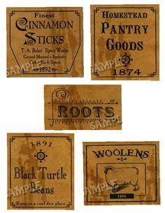 Primitive Labels by Sheila Corbin Primitive Labels, Primitive Crafts, Primitive Pillows, Primitive Signs, Primitive Homes, Pantry Labels, Jar Labels, Candle Labels, Vintage Labels