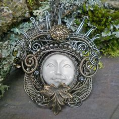 Queen of the Morning Carved Face Pendant with by twistedsisterarts, $99.95