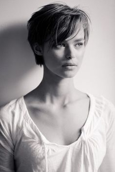 Long pixie haircut with bangs