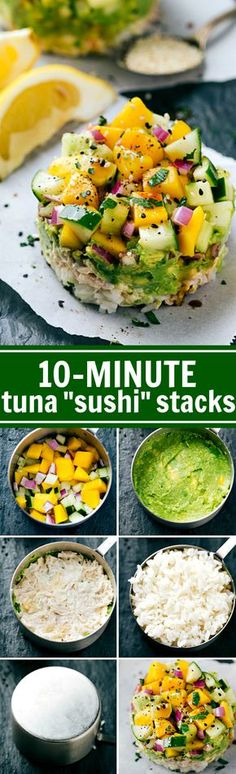 Use a CUP MEASURER to make SUSHI!! Tuna Sushi Stacks -- easy, healthy, kid-friendly, and delicious plus there is a simple sriracha mayo! Recipe via chelseasmessyapron.com #TasteGenova #GenovaSeafood #ad