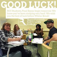 GOOD LUCK to all of our students tomorrow as we begin FINAL EXAMS! #finalexams #rcc #rappahannock #community #college #comm_college