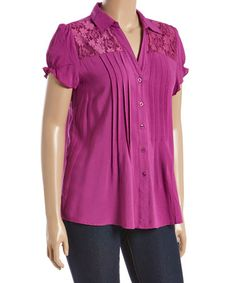 This Clover Purple Pin-Tuck Button-Up Top - Plus is perfect! #zulilyfinds