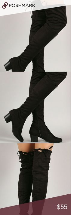 """Black Suede Over The knee Boots These edgy boots feature an over the knee silhouette, stacked block heel, and an adjustable drawstring tie at collar for custom fit. Finished with a round closed-toe and cushioned insole. Pull-on construction with partial side zip closure.  Material: Vegan Suede (man-made) Sole: Synthetic  Heel Height: 2"""" (approx) Shaft Length: 25"""" (including heel) Top Opening Circumference: 15"""" (approx) starlight footwear  Shoes Over the Knee Boots"""