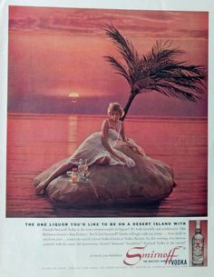 Smirnoff Vodka 60 s Print ad  Color Illustration  Scarce old ad   woman on desert island