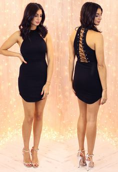 'Entrapment' Curve Hem Lace Up Back Bodycon Dress in Black - One Nation Clothing - Ginger Fizz - 1