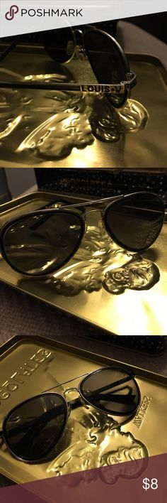 "Louis V aviators Always in style, these aviators are the perfect addition to any wardrobe! Black & silver frames with ""Louis V"" logo. Minor scratches on lenses. Accessories Sunglasses"