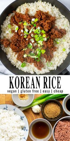 Korean Rice is easy to make with leftover rice, aromatic spices and you never believe it is vegan. Rice in a tasty sauce so yummy that everyone will love it and it's in under 15 minutes on the table. #vegan #dairyfree #vegetarian #dinner #lunch #mealprep #contentednesscooking #koreanrice Vegan Breakfast Recipes, Vegan Recipes Easy, Lunch Recipes, Healthy Dinner Recipes, Gourmet Breakfast, Free Recipes, Big Meals, One Pot Meals, Vegan Ground Beef