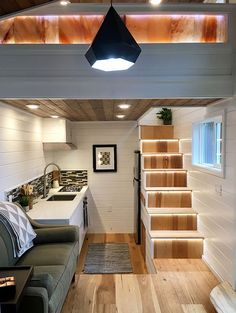 Tiny Home of Zen by Tiny Heirloom with Beautiful Kitchen! Tiny House Movement // Tiny Living // Tiny House Stairs // Tiny Home Kitchen //