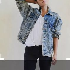 1980'S 90'S vintage Levi Jean Jacket Vintage Levis jacket.  Acid wash.  Grunge look.  Size Mens L.  Oversize for women.  1980'S, 90'S.  Awesome jacket!!  First picture for inspiration only!! Levi's Jackets & Coats Jean Jackets