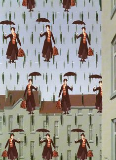 Mary Poppins..a take-off of Magritte's 'To Golconde'...which I have an image of in this same category .