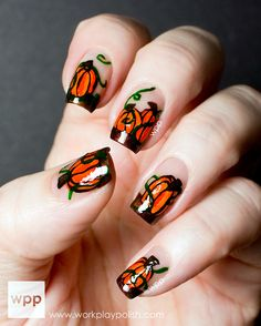 awesome pumpkin nails