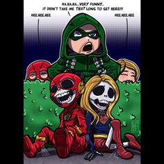 """The Flash and Supergirl """"died"""" waiting for Green Arrow to show up. Superhero Shows, Superhero Memes, Team Arrow, Arrow Tv, Supergirl Dc, Supergirl And Flash, Lord Mesa Art, Series Dc, Heros Comics"""