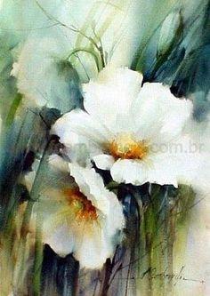 White floral watercolor--artist Fabio Cembranelli
