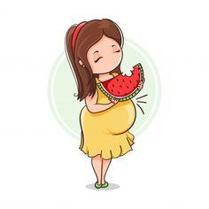 Grávida comer melancia Vetor Premium | Free Vector #Freepik #vector #freebebe #freemulher #freevetor #freemae Cute Love Cartoons, Cute Cartoon, Mom And Baby, Baby Love, Pregnancy Art, Pregnancy Memes, Mother Art, Foto Baby, Baby Art