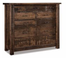 Amish Rough Sawn Brown Maple Wood Vandella 11 Drawer Double Chest You've found rustic style storage for bedroom in rich brown maple wood. Built and customized in Amish country, you have the option to add a deep blanket drawer or a hidden compartment. #chestofdrawers #rusticbedroom #bedroomchest