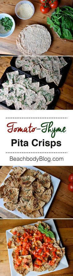 With a light dusting of parmesan cheese and herbs baked in, these pita crisps are delicious by themselves. Top them with a generous serving of chopped, fresh tomatoes and they become a great appetizer to bring to a party. Tip: Keep the pita crisps and tomatoes separate until just before serving. // healthy recipes // snacks // eat clean // side dishes // finger food // appetizers // party food // Beachbody // BeachbodyBlog.com