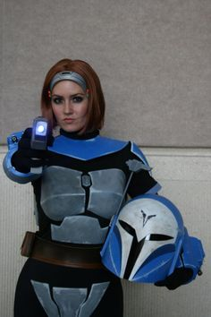 Bo-Katan in full Mandalorian armor. I like her cause she is the only ginger :) At least that I remember.