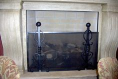 Scrolled Sides and Bottom Fireplace Screen