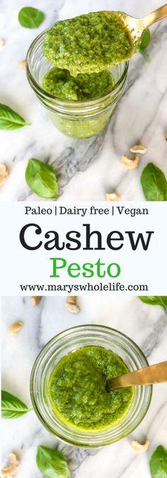 A cashew pesto that is paleo, dairy free, and vegan! via Whole Life Cashew Recipes, Vegan Pesto, Healthy Pesto, Easy Whole 30 Recipes, Paleo Whole 30, Good Healthy Recipes, Healthy Dips, Dairy Free Pesto, Gourmet