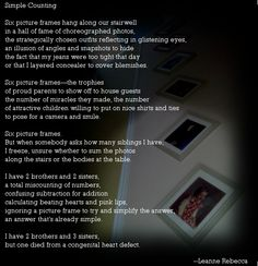 """""""Simple Counting,"""" a poem about not forgetting the loved ones we've lost. Read more original poetry at shesinprison.com. Please support CHD research and find a congenital heart walk in your city today!"""