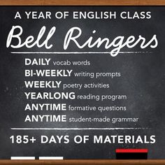 $ - Entire YEAR of materials for vocab, poetry, writing prompts, independent reading, grammar videos, and formative assessment questions for your English class bell-ringer routines!