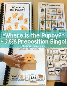 "Sarah kicks off her prepositional adapted book series with ""Where is the Puppy?"" PLUS shares a FREE bingo follow-up activity on the blog! From theautismhelper.com #theautismhelper"