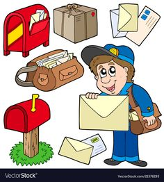 Find Mail Collection On White Background Vector stock images in HD and millions of other royalty-free stock photos, illustrations and vectors in the Shutterstock collection. Thousands of new, high-quality pictures added every day. Preschool Family Theme, Preschool Learning Activities, Preschool Themes, Book Activities, Community Helpers Worksheets, Community Helpers Preschool, Abc Coloring Pages, Kids Graphics, Cartoon Kids