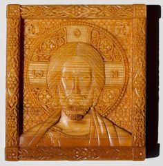 Christ Pantocrator.  10.2 x 11.4 cm; linden wood, natural linen oil varnish, 2003
