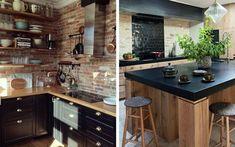 Vous rêvez d'une cuisine moderne avec une pointe de caractère ? Alors osez l'alliance du bois et du noir. Pour vous inspirer, voici une sélection de 15 photos dénichées sur Pinterest ! 1. Cuisine rustique Source 2. En U Source 3. Avec ilôt central Source 4. Avec mur en carrelage blanc Sour