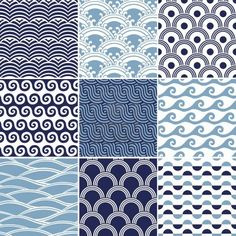 Illustration of seamless ocean wave pattern vector art, clipart and stock vectors. Japan Design, Web Design, Japanese Theme, Japanese Art, Chinese Patterns, Japanese Patterns, Textures Patterns, Print Patterns, Floral Patterns