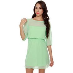 Pale lime-mint green dress with sleeves