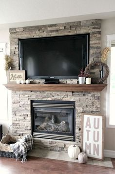 Fall Home Tour Love Create Celebrate. Beautiful fall mantel and fireplace! More The post Fall Home Tour Love Create Celebrate. Beautiful fall mantel and fireplace! appeared first on Decoration. Home Fireplace, Fireplace Remodel, Living Room With Fireplace, Fireplace Design, Fireplace Ideas, Brick Fireplaces, Farmhouse Fireplace, Mantle Ideas, Fireplace Stone