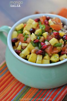 Mango Pomegranate Salsa recipe… this would be delicious on top of grilled salmon or  maui maui.