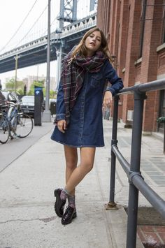 Denim dress + scarf