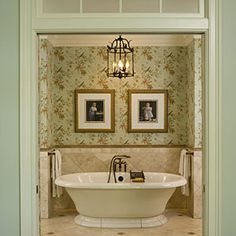 Place the free-standing tub in an alcove in the bath off the master bathroom.  Coordinate Colors - SouthernLiving.com