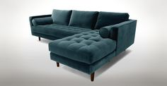 Sven Pacific Blue Right Sectional Sofa