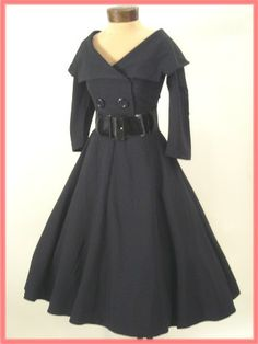 "Bettie Page 50s Inspired  Black ""Secretary"" Dress w/Full Swing Skirt"