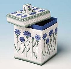 The Cornflower Box - 3D Three Dimensional Cross Stitch Kit.  I've never liked anything made with plastic canvas, but this is pretty.