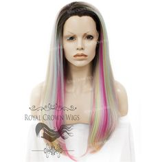 "24 inch Heat Safe Synthetic Straight Texture Lace Front ""Aphrodite"" in Rooted Unicorn Fantasy Pastels Natural Hair Regimen, Natural Hair Growth, Natural Hair Styles, Synthetic Lace Front Wigs, Synthetic Wigs, Rainbow Highlights, Unicorn Fantasy, Natural Hair Tutorials, Natural Hair Inspiration"