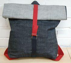 Denim Roll Top Backpack Free Tutorial - Rucksack DIY - Selvedge Denim Tutorial