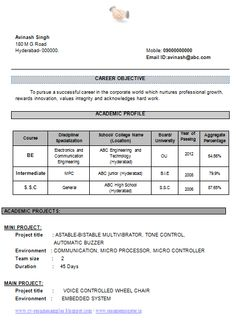 Format For Resumes Mechanical Engineer Resume For Fresher ~ Resume Formats  Resume