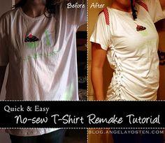 Angela Yosten: No-sew T-Shirt Re-make Tutorial