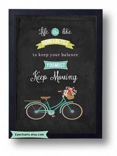 Inspirational quotes quote print.- Life is like Riding a Bicycle...