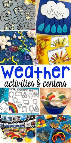 All our favorite weather themed activities (literacy math STEM science sensory fine motor). Designed for preschool pre-k and kindergarten kiddos. Weather Activities Preschool, Teaching Weather, Weather Science, Seasons Activities, Kindergarten Science, Preschool Themes, Science Activities, Preschool Activities, Weather Unit