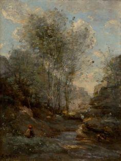 JEAN-BAPTISTE-CAMILLE COROT (French, 1796-1875)  Le Vallon des Chevres (Souvenir du Lac de Garde), circa 1870-1872