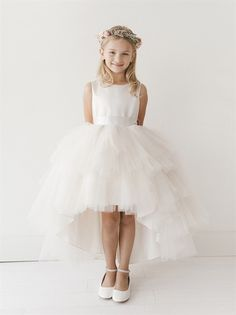 4d0a095bd26 Girls Dress Style 5658 - Satin and Tulle High Low Dress In Choice of Color